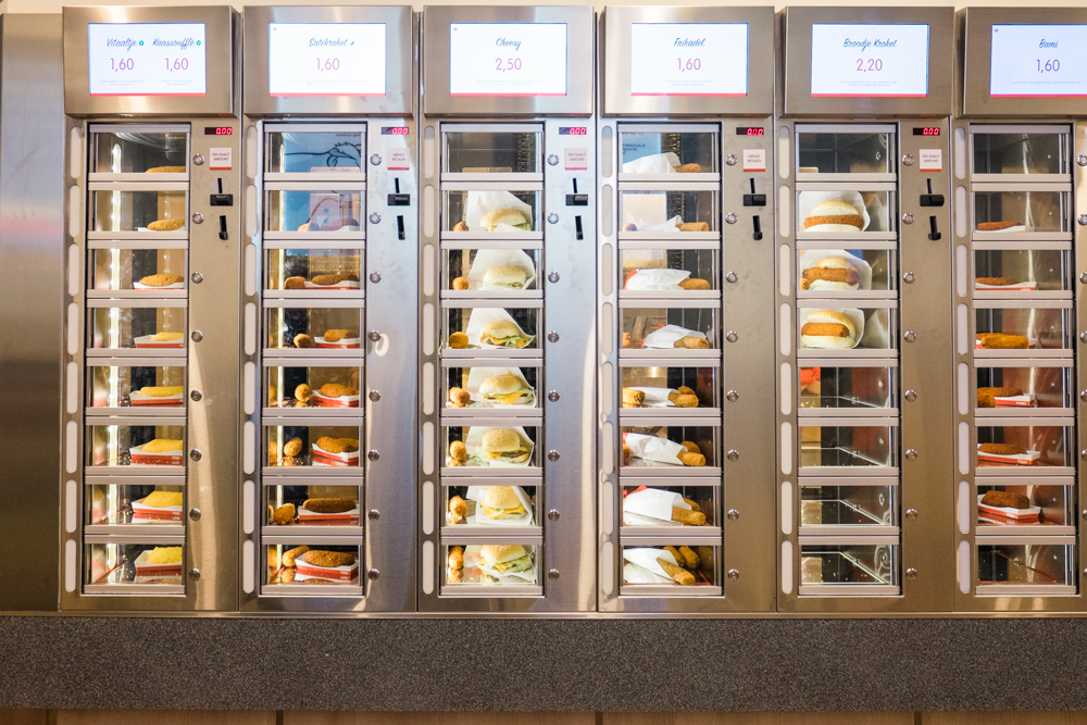 If you happen to be walking around Leidseplein late at night, you'll be happy to know that FEBO will be open and waiting for you.