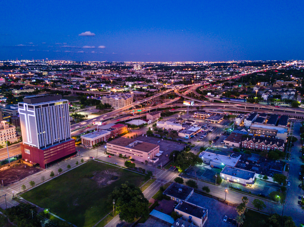 downtown houston drone
