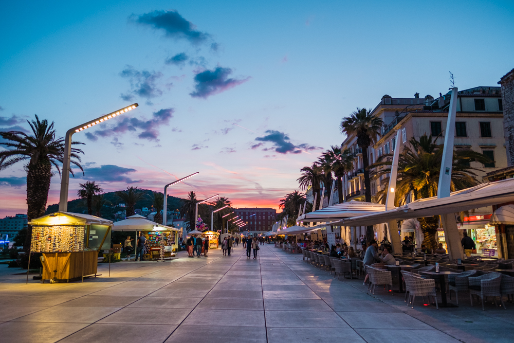 Split is beautiful at night. Lots of restaurants along the bay stay open late. Even in late May, the weather was cool and perfect for sitting outside.