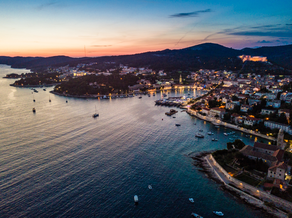 Bird's-eye view of Hvar at sunset. Can you spot the fortress?