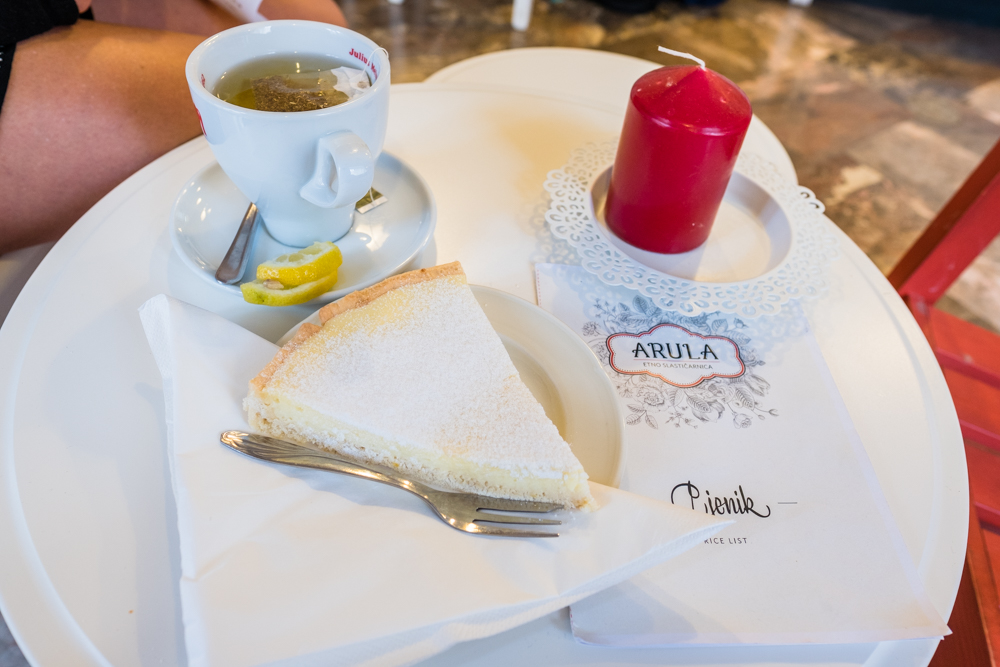 Chamomile tea and a lemon tart. The lemon tart was delicious and not too sweet.