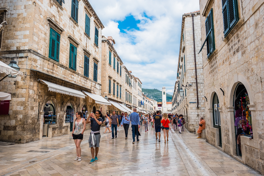 The main street of Old Town Dubrovnik is lined with many shops and restaurants. Be careful when it rains, the marble-lined floors are very slippery!
