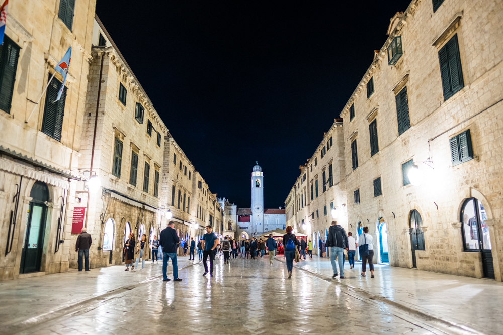 The main street of Old Town Dubrovnik at night
