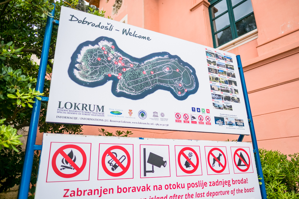 Entrance to Lokrum. There are several maps along the way, but it helps if you take a picture of one to follow along the way.