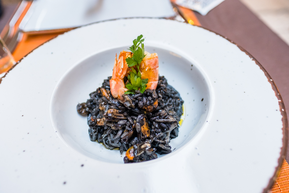 Black ink seafood risotto