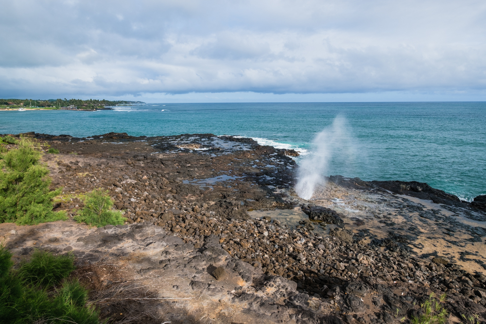 spouting horn park kauai hawaii