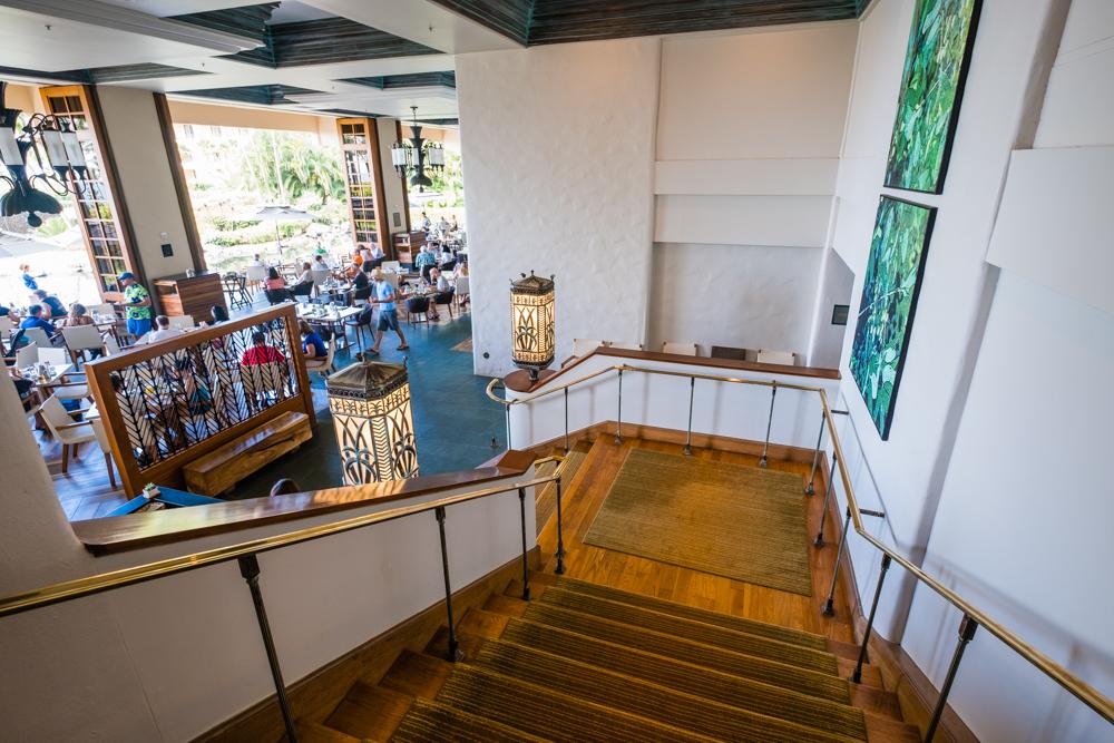 Stairs leading down to the restaurant at the Grand Hyatt Kauai
