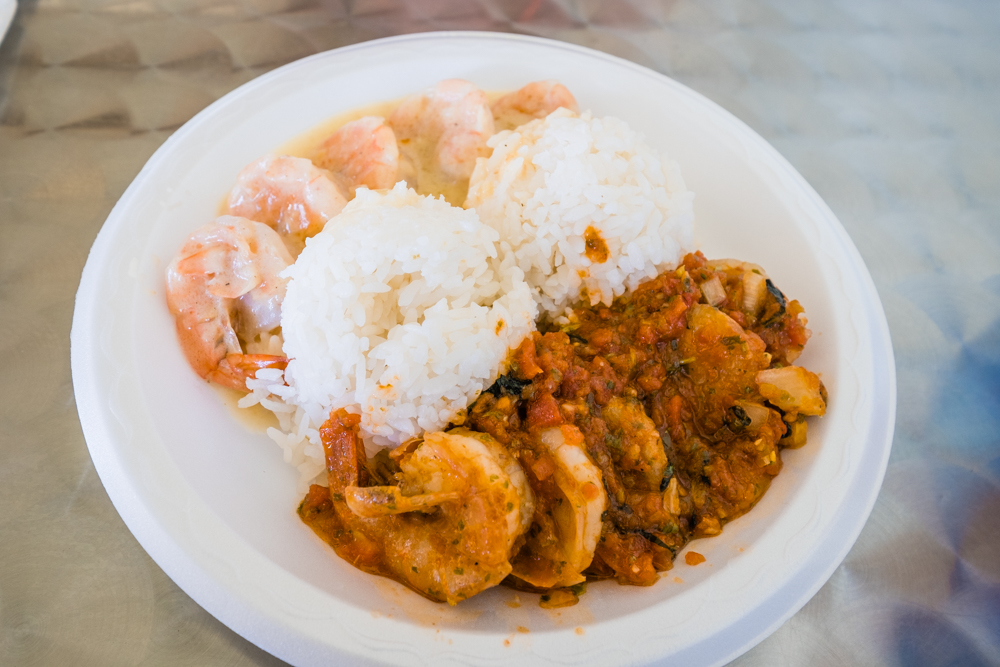 They will let you mix two different kinds of sauteed shrimp, which is a good way to try them all. The 'Got Garlic' and 'Thai' are definitely some of our favorites.