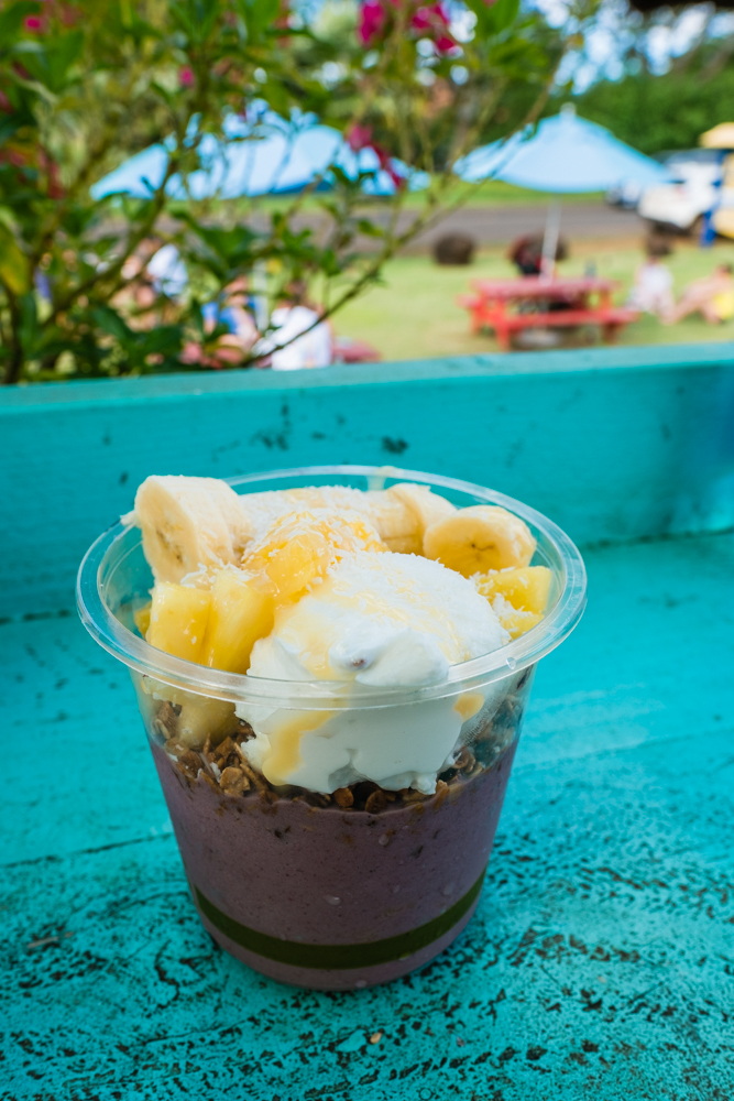 Shippy's Bowl: Acai topped with Greek Yogurt, bananas, fresh pineapple, coconut flakes, and granola.