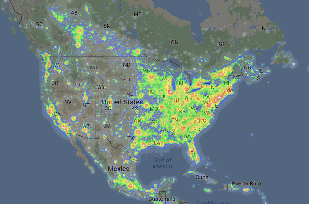 East Coast residents of the US will have to find remote areas of darkness to photograph in. This fascinating screen grab from DarkSiteFinder.com shows just how unevenly distributed the population in the US is. Almost no areas on the East Coast will be as truly dark as remote locations in the Western United States.