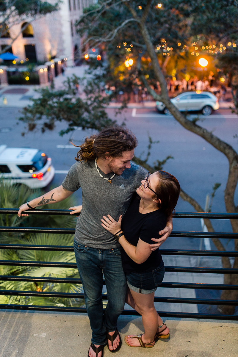 Engaged couple at night in downtown St. Petersburg, Florida