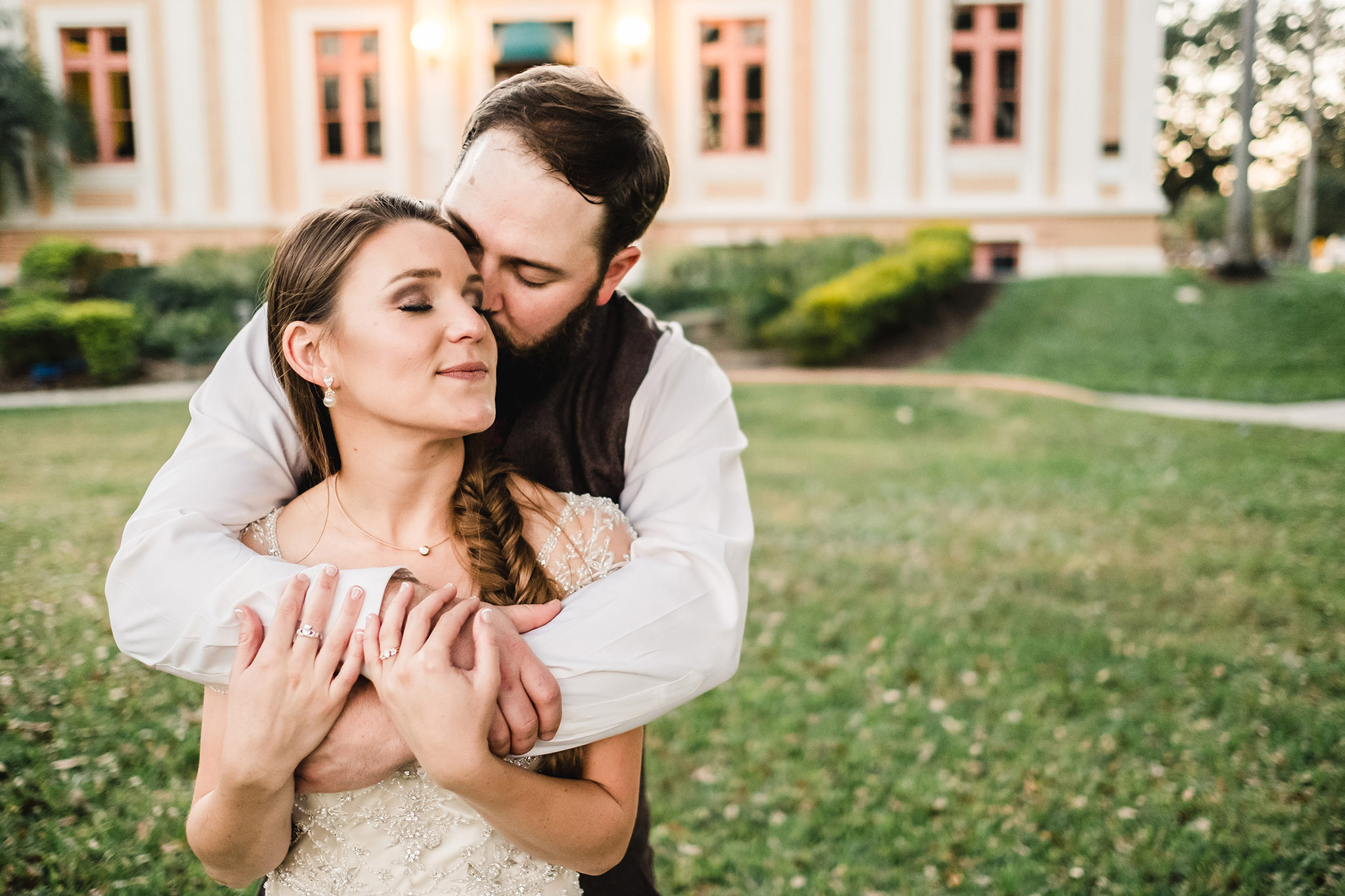 Mirror Lake Library - Tampa Wedding Photographer - Pink Warm