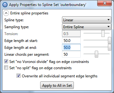 Setting up spline properties