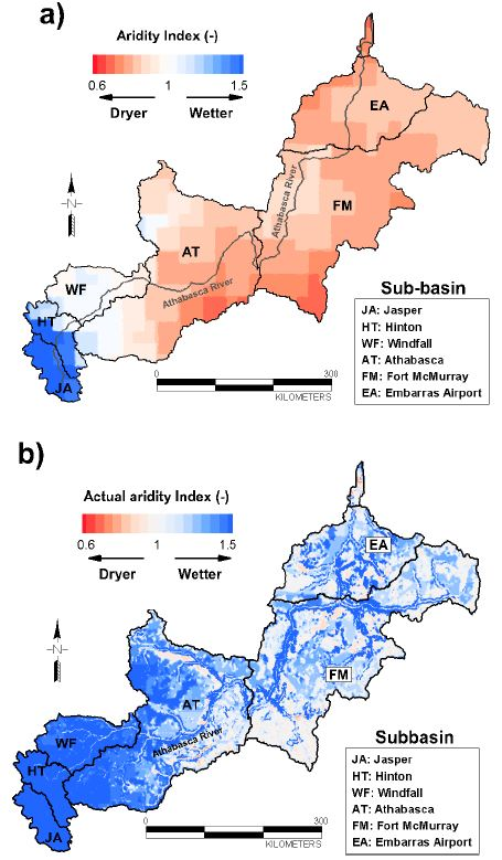 a) Spatial distribution of aridity index (AI) and b) Spatial distribution of actual aridity index (AAI) based on long-term steady state simulation results: JA=Jasper; HT=Hinton; WF=Windfall; AT=Athabasca; FM=Fort McMurray; and EA=Embarras Airport sub-basin.