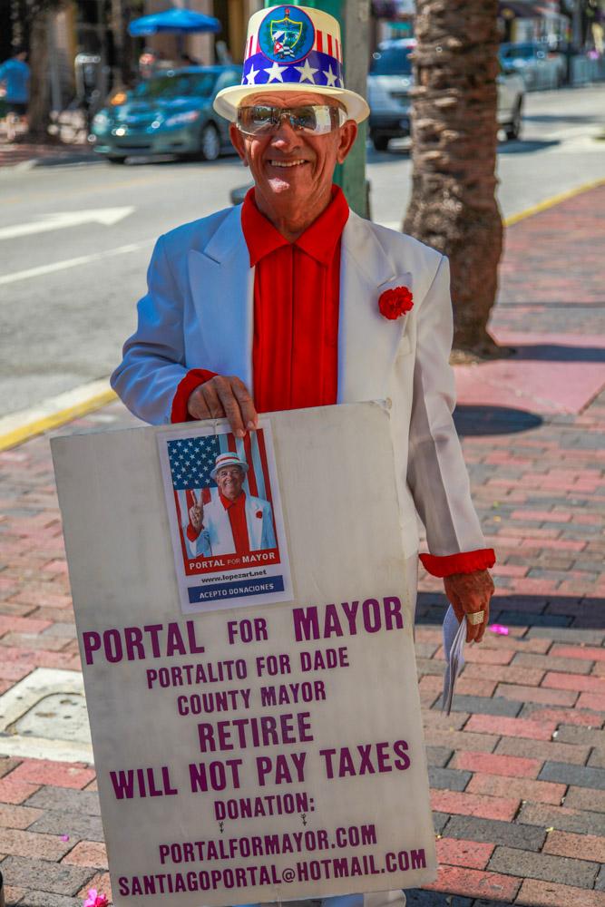 Santiago Portales, Cuban American; always displaying political signs
