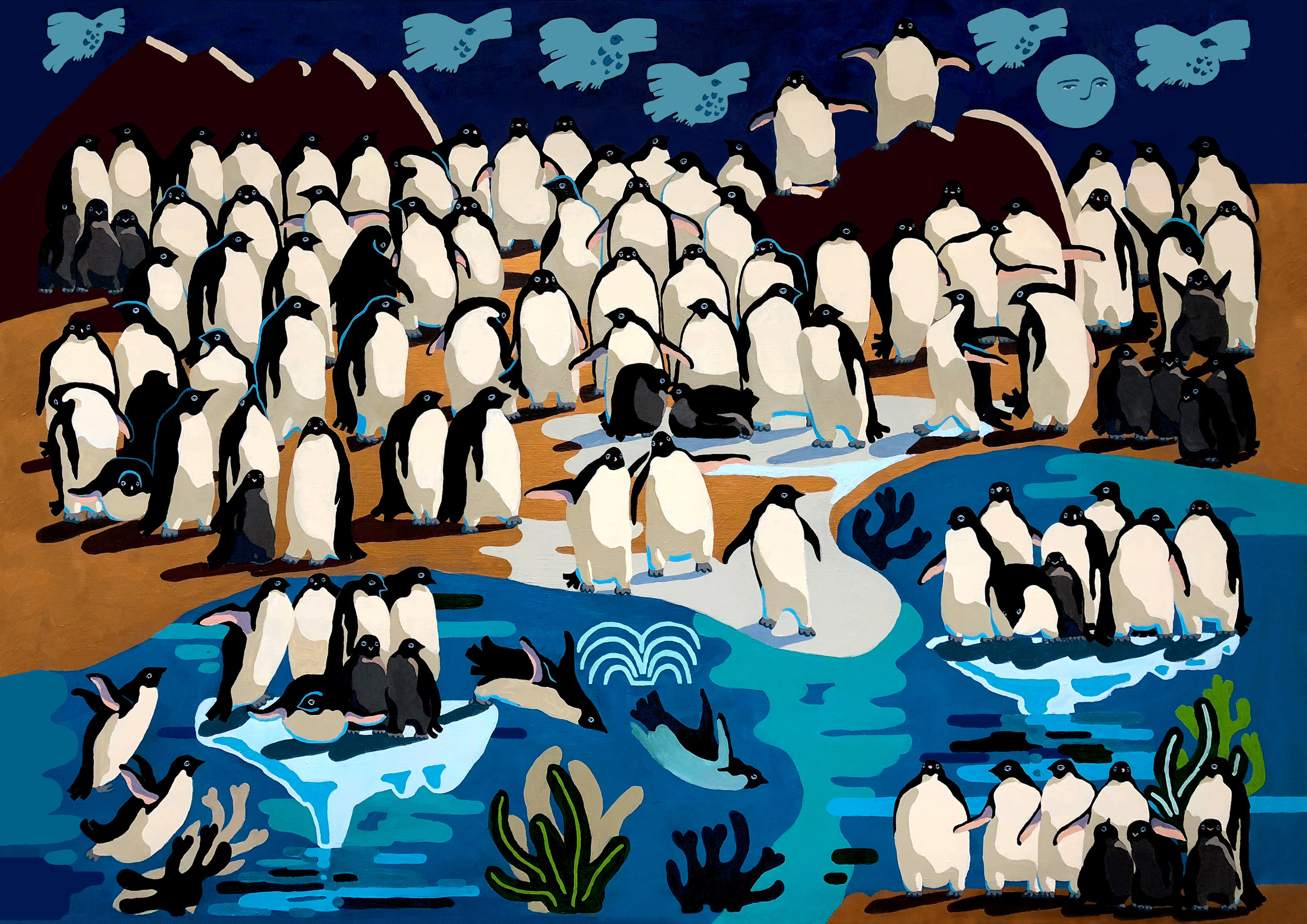 THE GRAND PAINTING OF PENGUINS, 190 x 142cm  Acrylic on linen / 2018  Crowdfunding project to raise awareness of endangered Penguins colonies in Antarctica, launched on  Kickstart er
