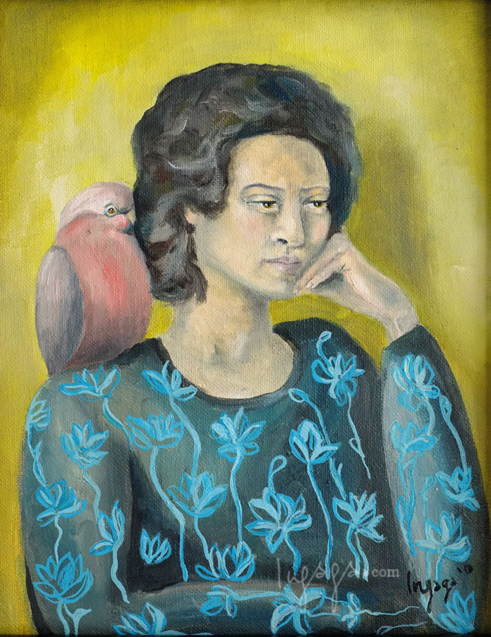 LADY WITH A PARROT  25 X 30cm  Oil on canvas / 2014