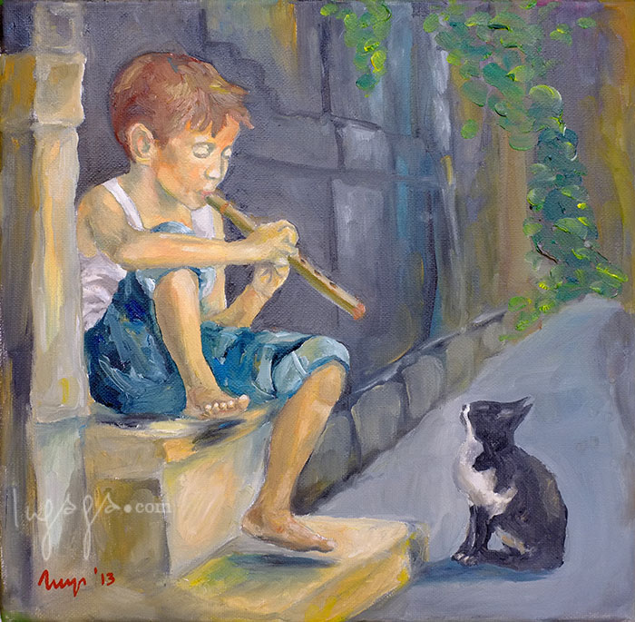 BOY WITH THE FLUTE  30 x 30cm  Oil on linen / 2014   SOLD