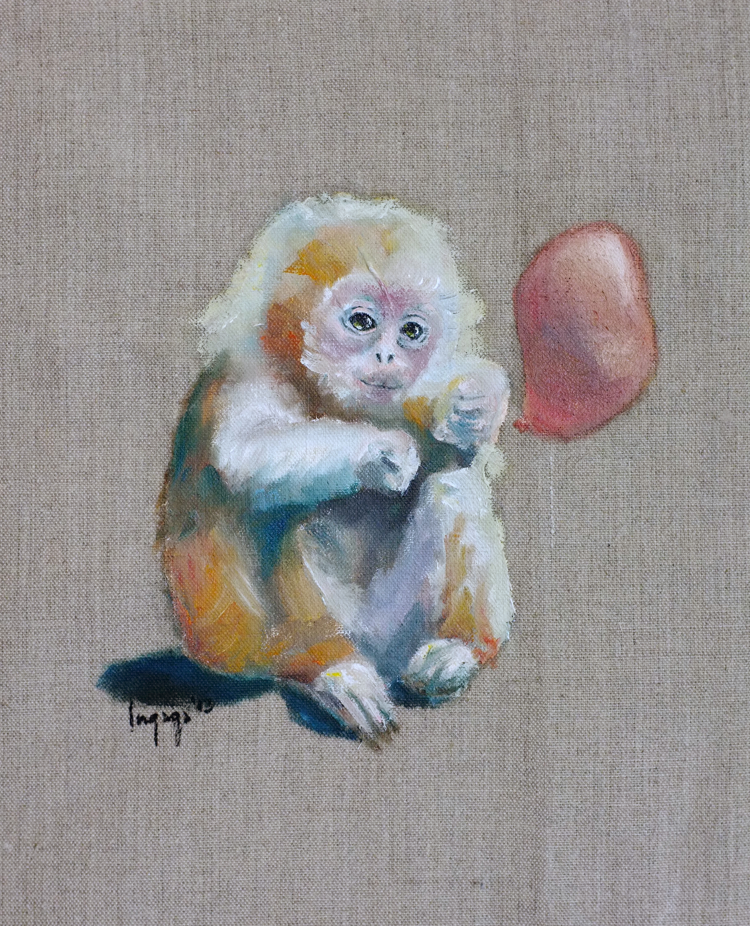 MONKEY AND A BALLOON  20 x 20cm  Oil on linen / 2013