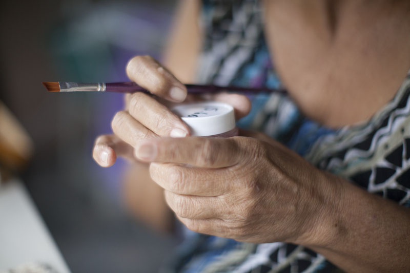 She used to love to go out and be active, but now she feels very limited in her home.     She passes the time doing crafts.