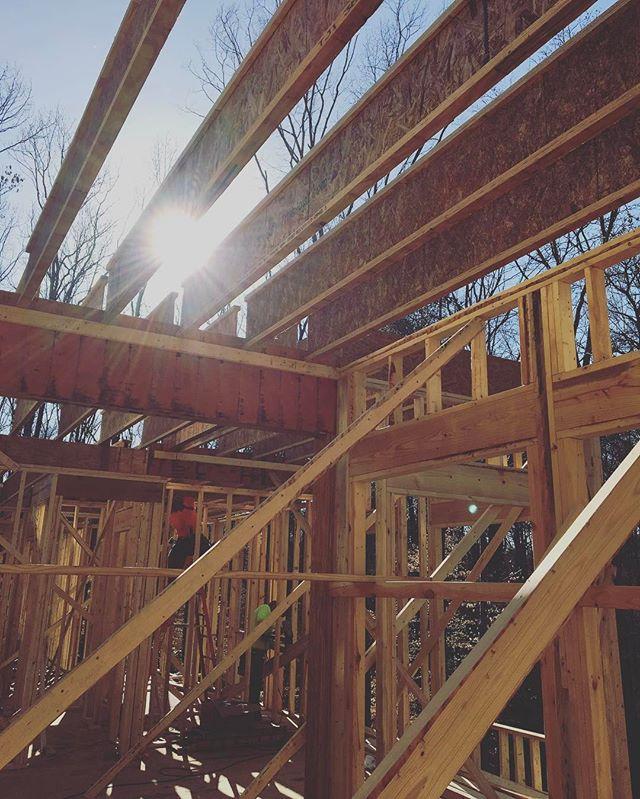 Beautiful day to frame in February. 80 degrees and sunny!  #customhome #custombuilder #homebuilder #generalcontractor #framer #bridgebuilders30 #marietta #georgia #framing #tji #roughcarpentry