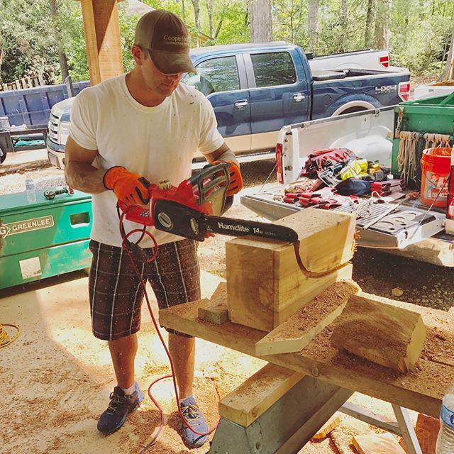 Corbel assembly line  #custombuilder #generalcontractor #woodworking #corbels #timbers #customhome #marietta #georgia #bridgebuilders30