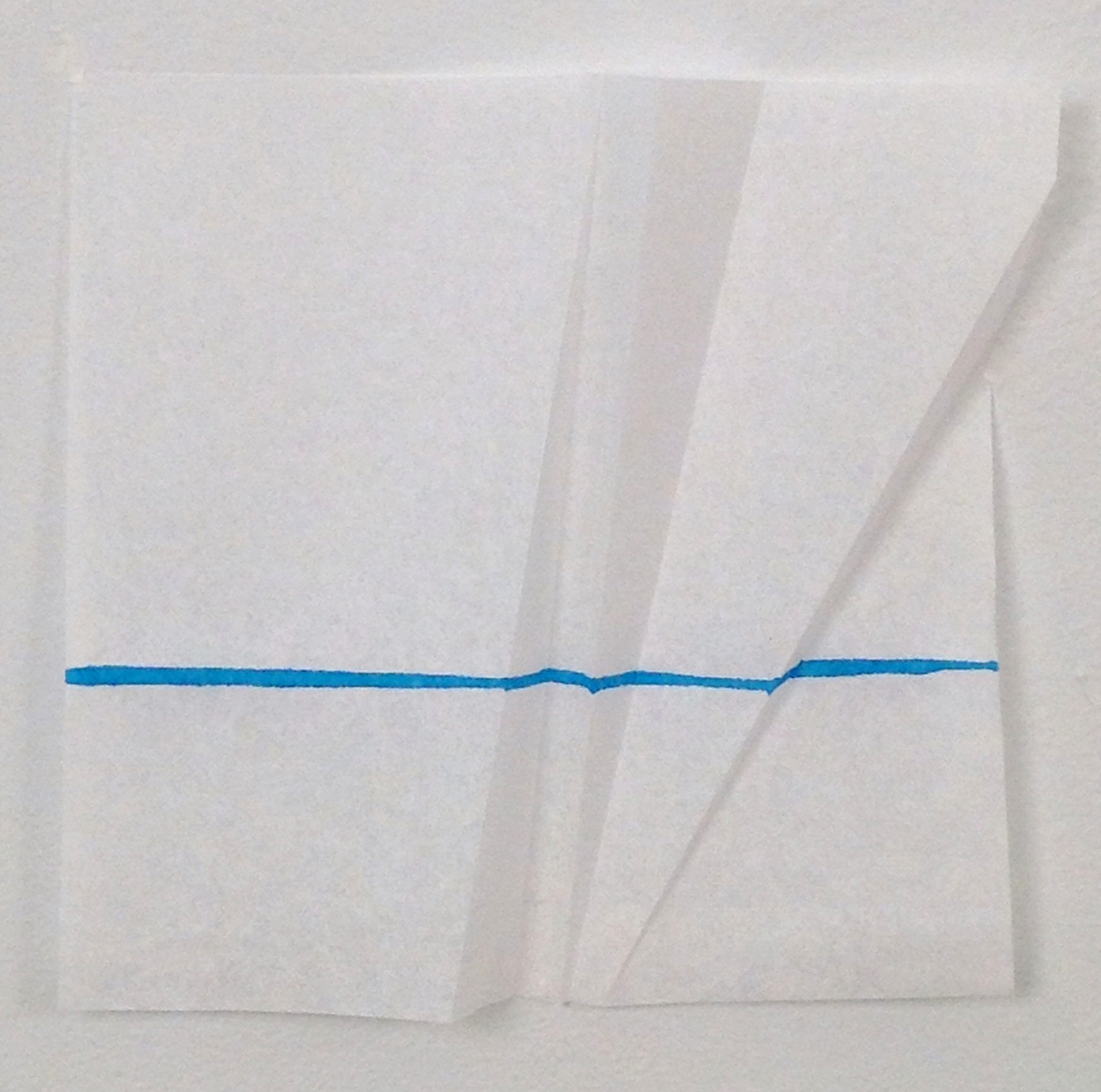 The effect of a fold on a line.