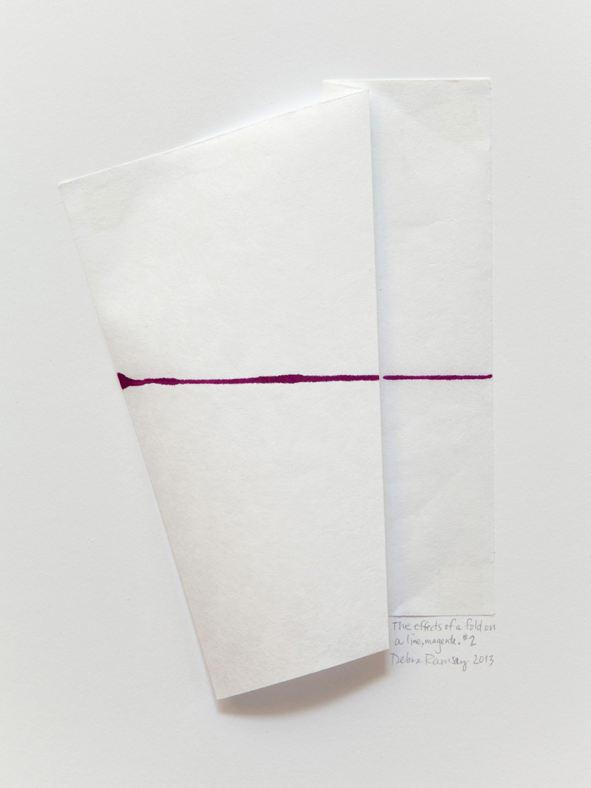 The effects of a fold on a line, magenta2.