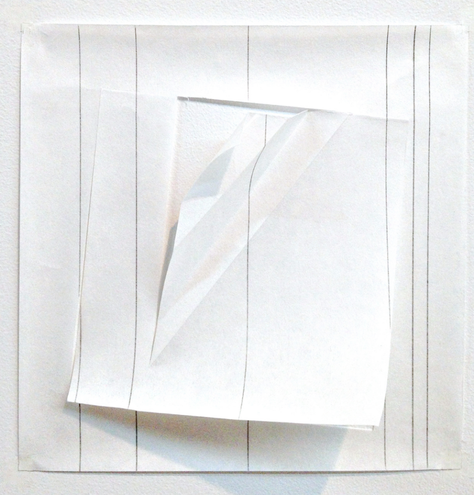 The effects of a fold on a line, graphite., 8 inches square, Kozo paper, graphite, 2013