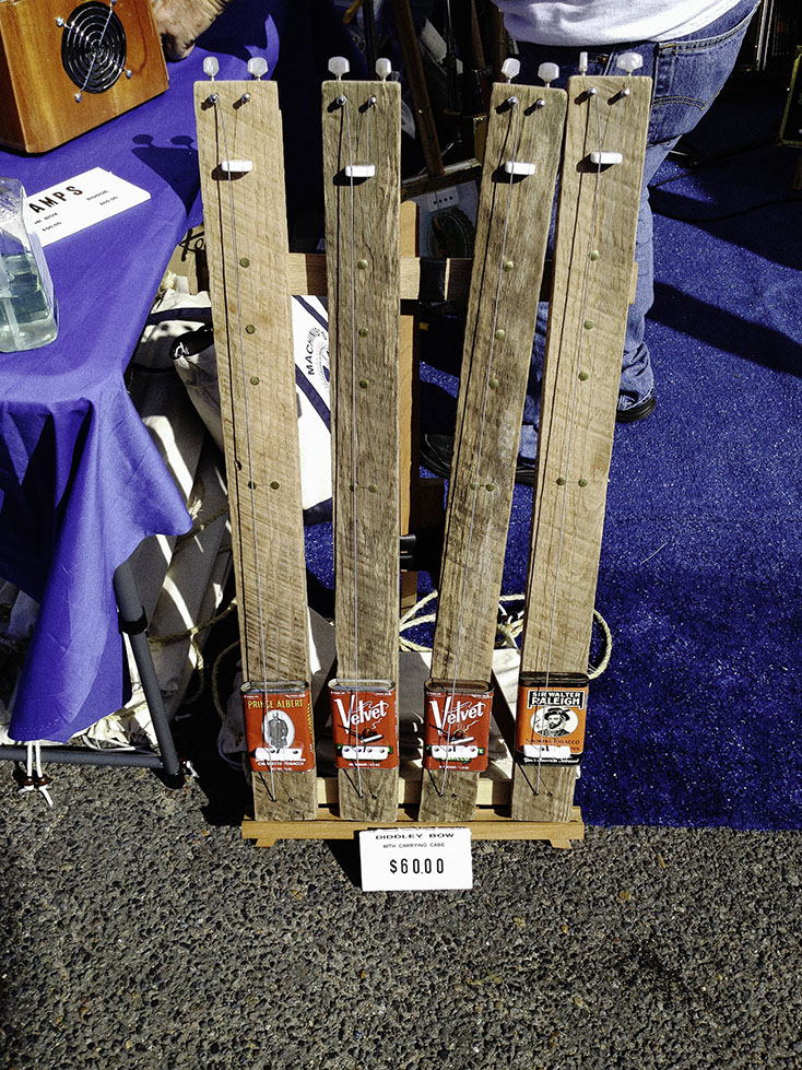 2 string diddley bows in a market stall in Helena, Arkansas