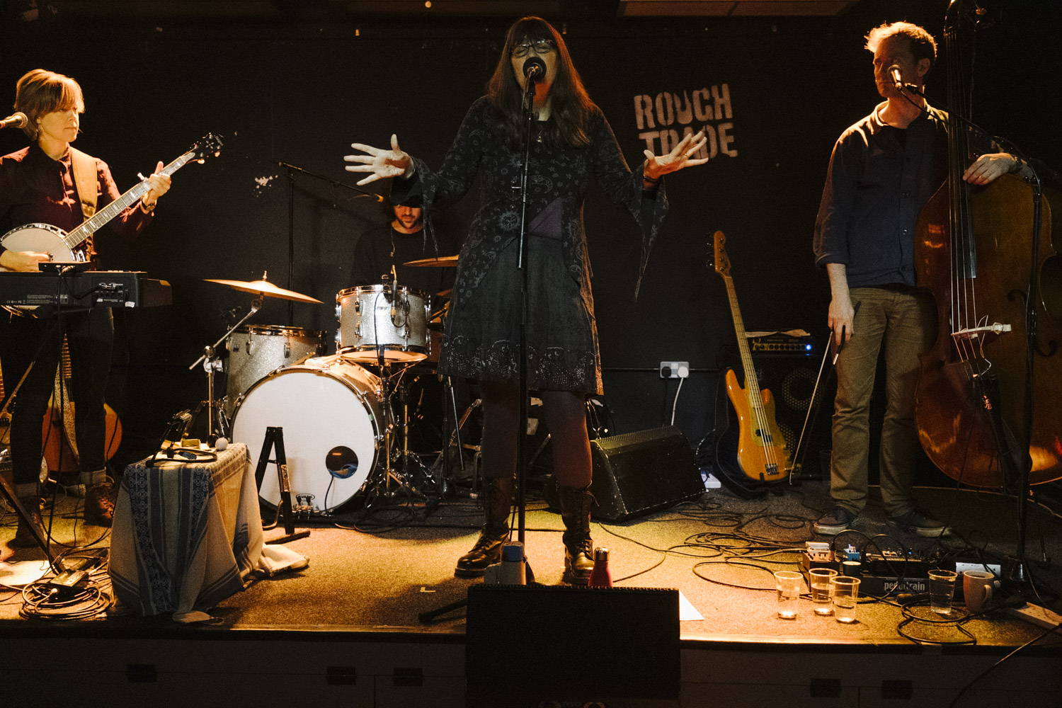 Marry (centre), Emily (stage right), Lukas (stage left) and Rob (rear) in the Rough Trade live room