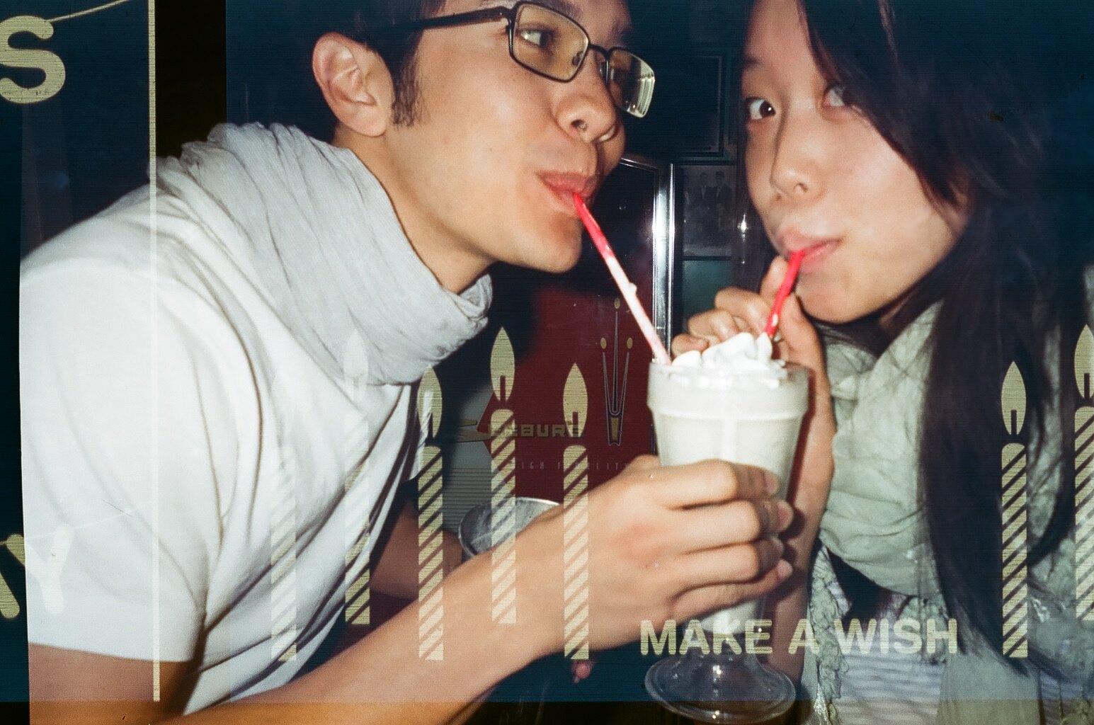 Milkshakes on Eric's birthday (themed disposable camera), 2014