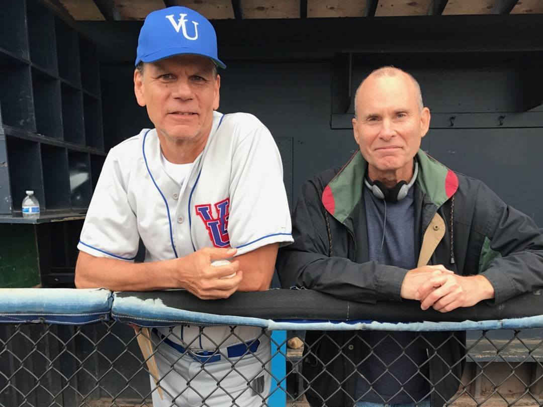 """On set with director Brian drillinger for the feature """"Extra Innings"""" playing coach !"""