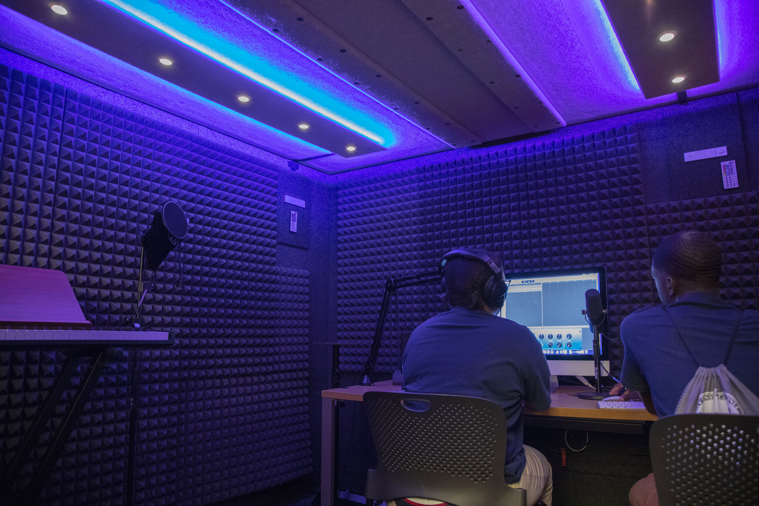 """Two Sound Booths and two Post-Production Stations with 27"""" iMacs and Headphones - Logic Pro XGaragebandAudacityKomplete by Native InstrumentsUA ConsoleA wide variety of plug-ins"""