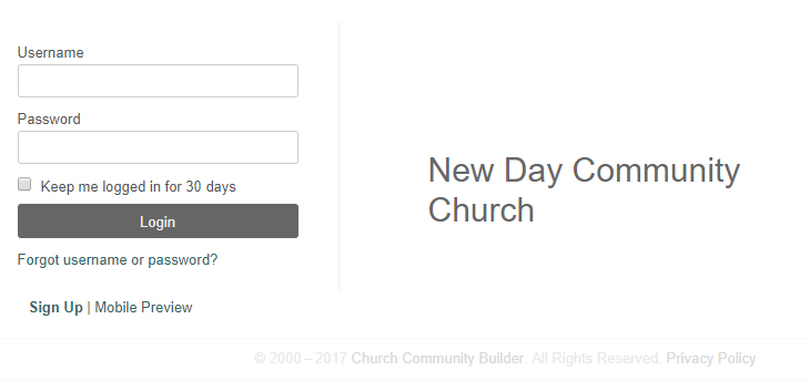 1. Start by logging in to  https://newdaystockton.ccbchurch.com/login.php