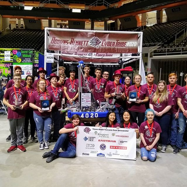 It was another exciting robotics weekend for Team 4020 at the Smoky Mountain Regional!  Along with alliance partners 2386 Trojans (from Canada!) and 3966 L&N STEMpunks (from Knoxville!), we finished a close second in an exciting finals series.  We also won the Autonomous Award for the second time this season.  Next stop, Houston!