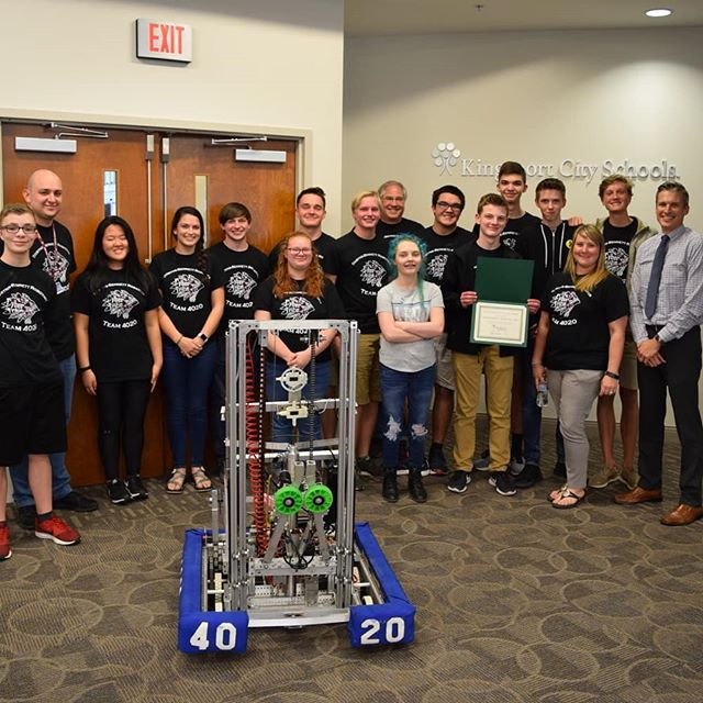 Team 4020 is thankful for the great support of the Kingsport City Schools Board of Education.  We were honored to attend their May meeting to talk about our team and demo our robot!