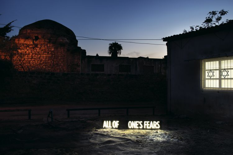 "ALL OF ONE'S FEARS, Two on-location light boxes, sited between Synagogue and ruins of former Mosque attacked by rioting Israelis during second Intifada, Cvar Shalem neighborhood, Tel Aviv, 2014, digital c-print, 28.5"" x 40"" and 40"" x 60"", from the series Facts On The Ground"