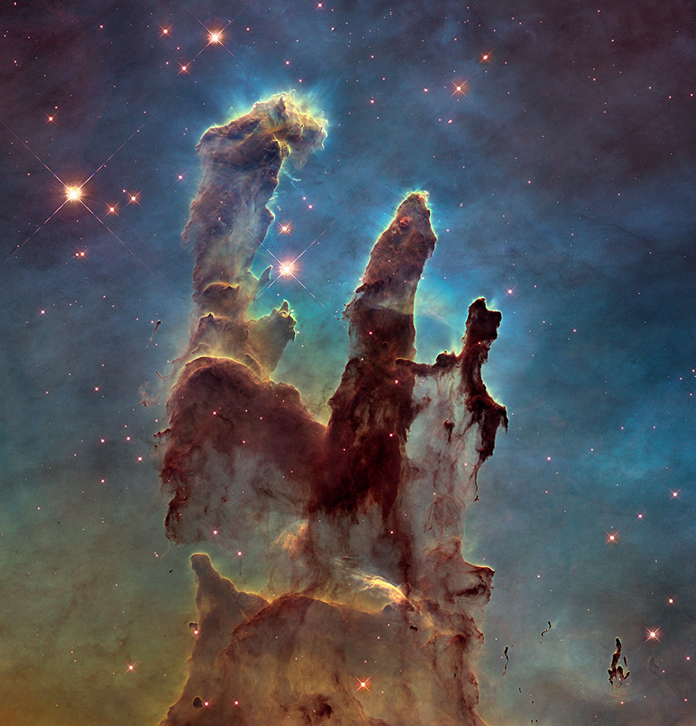 2014, New view of the Pillars of Creation, visible light, detail. Photo: NASA, ESA/Hubble and the Hubble Heritage Team.  Photo:  NASA, ESA/Hubble and the Hubble Heritage Team.