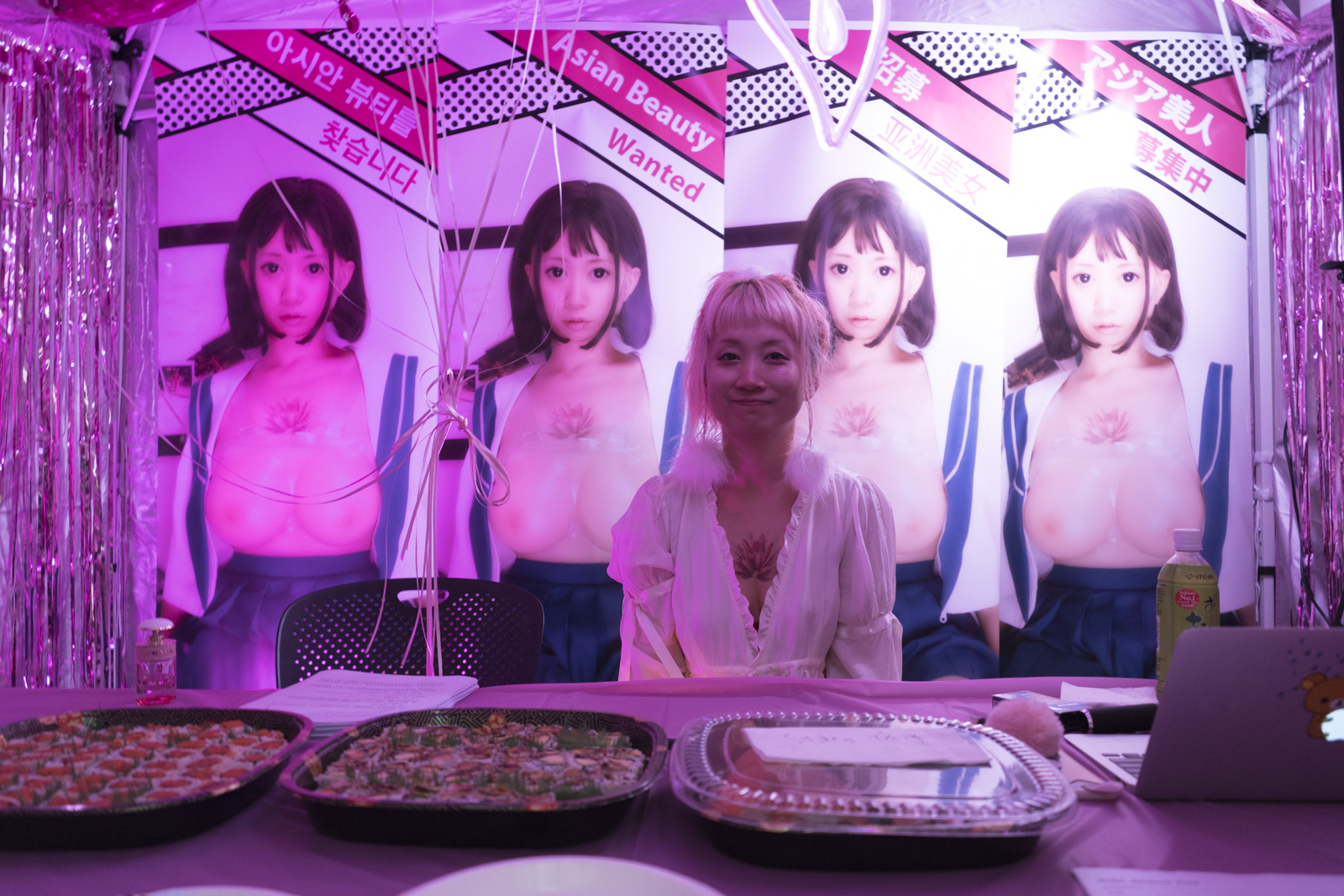 "Inside thesis student Dodo Zhang's glamourous pink tent ""recruitment"" event."