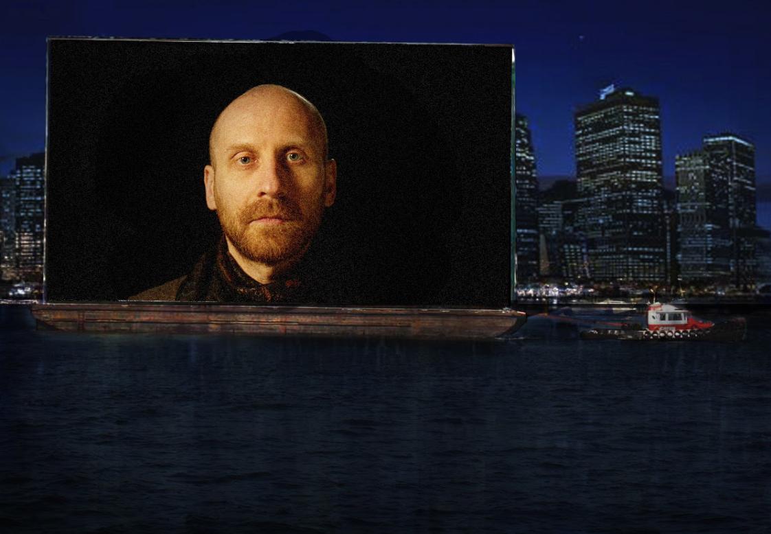installation view of Shimon Attie's  Night Watch