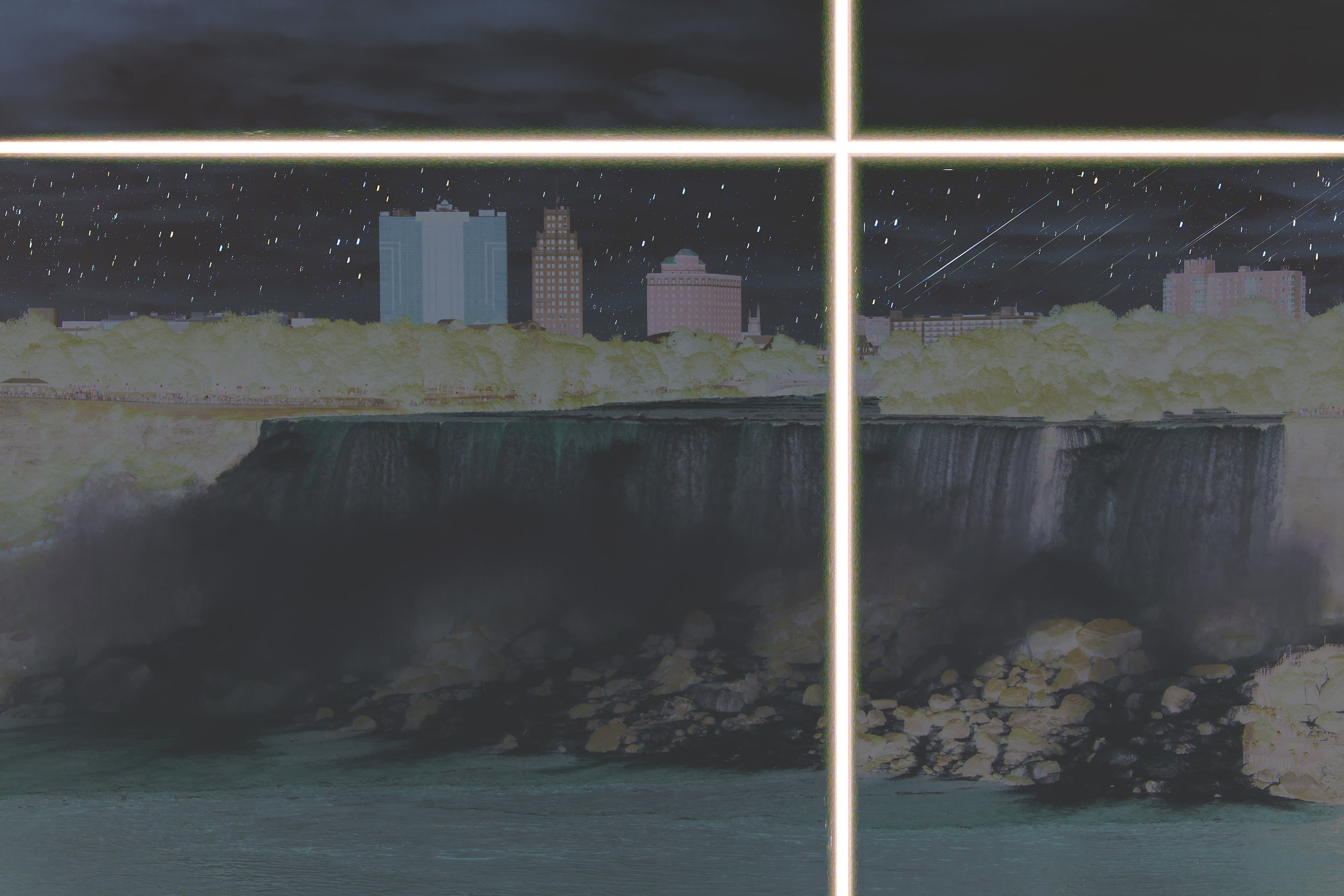 Niagara and Hotel , 40 x 30 inches, 2019  medium format digital with alternative color film process and telescope image