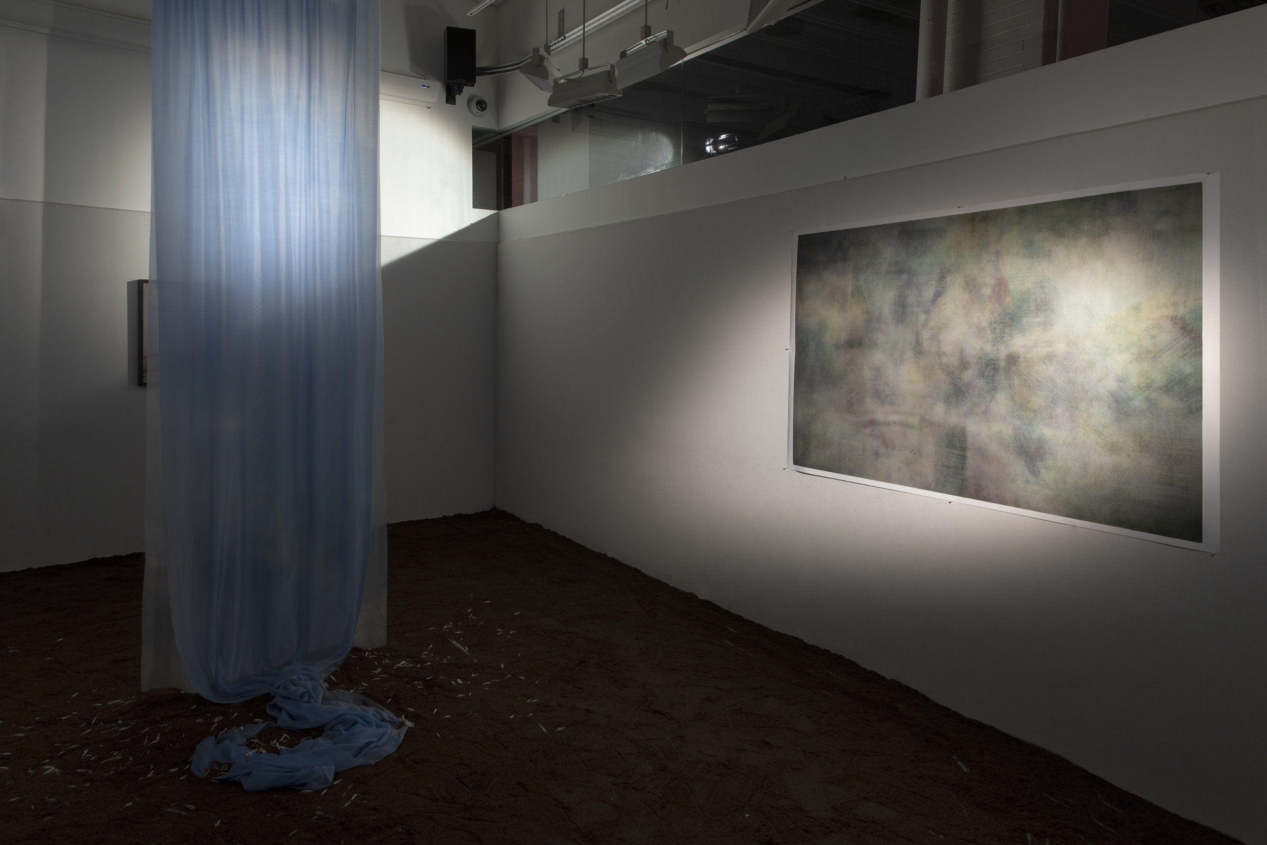 Installation Image for  Vestige , 2019  Mixed Media (Silk Habotai, Pigment, Dirt, Ashes of Incense Sticks, Crysanthemum Petals, Framed Images with Archival Inkject Print)