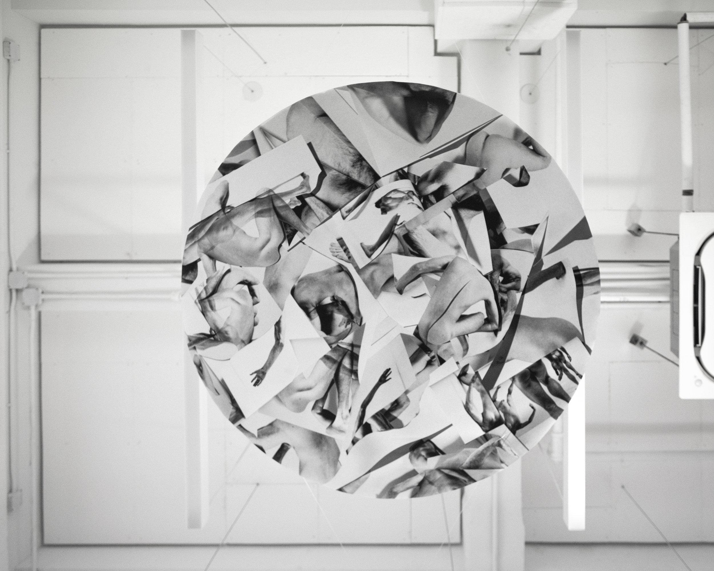 Scraps   2019  Inkjet print and round frame  65 inch diameter