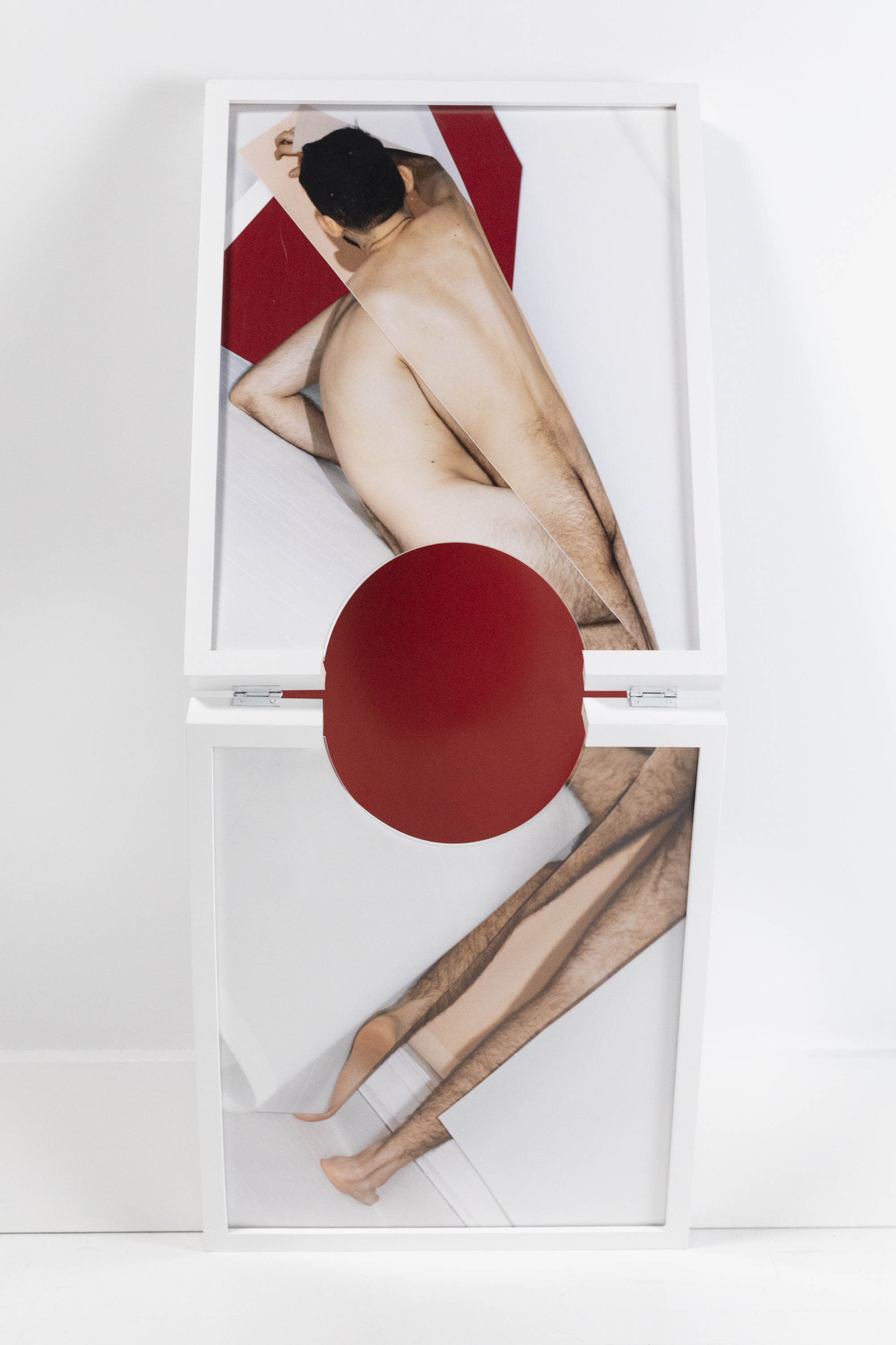 Body and Blood   2019  Inkjet print with red wall detail  17.5 x 43 x 6 inches