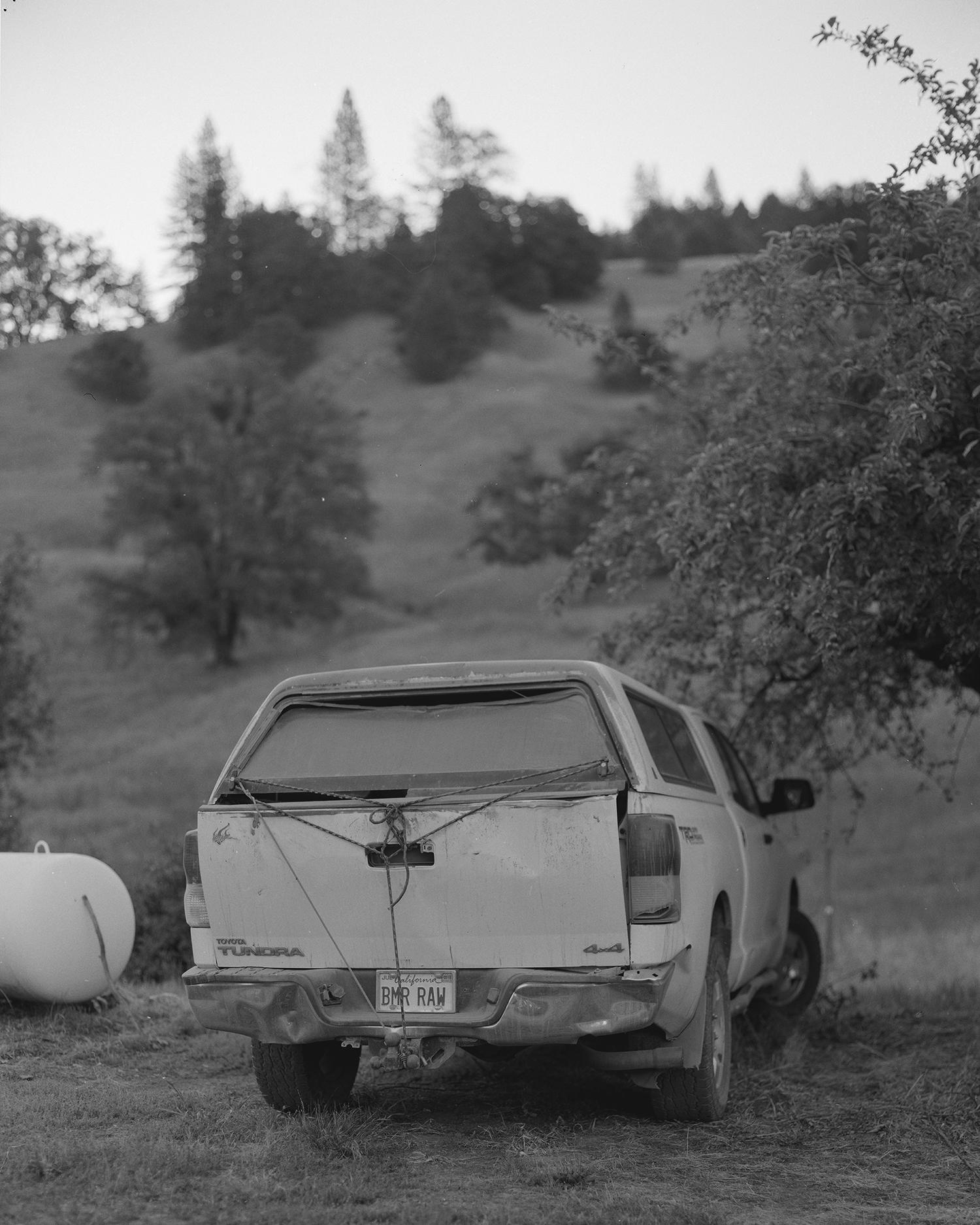 Richard's truck. License Plate BMR•RAW, Buck Mountain Ranch Richard A. Wilson