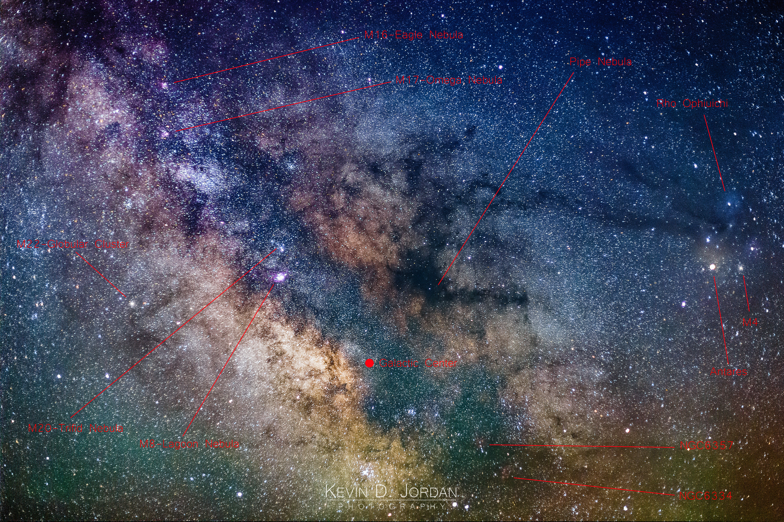 Annotated view of the center of the Milky Way (Kevin D. Jordan Photography)