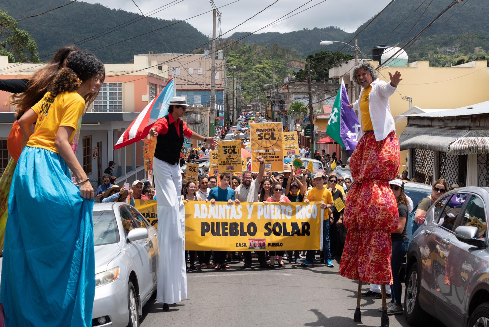 The community of Adjuntas celebrating a solar-powered future for Puerto Rico.  Photo by Ruben Salgado Escudero