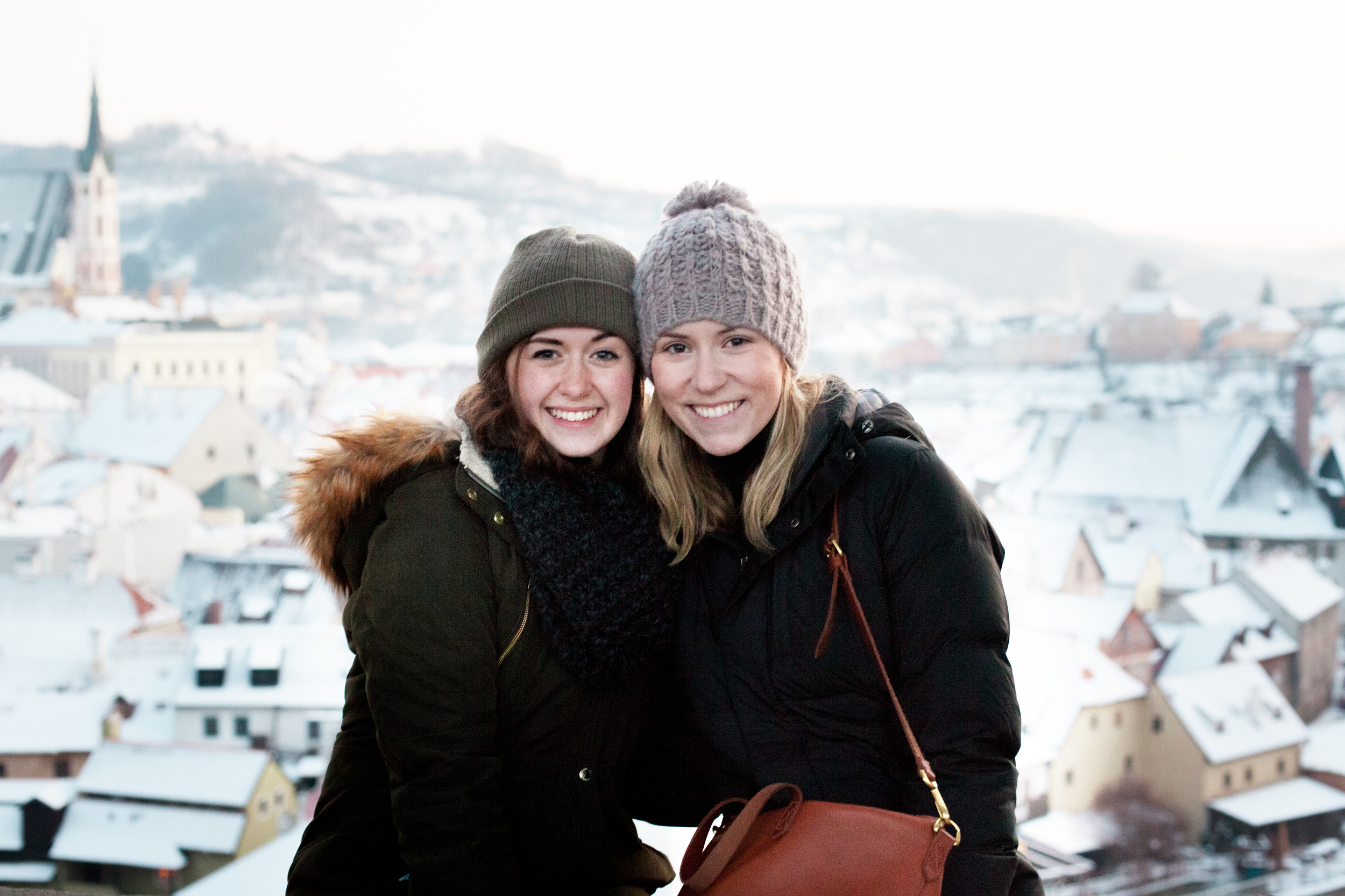 Me and my friend Megan enjoying views atop the Český Krumlov castle.