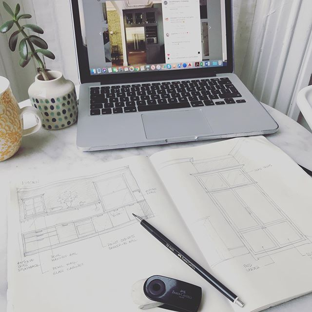 Sketching this morning for a Victorian flat with @devolkitchens in mind, can't get more English than a shaker kitchen #interiordesign #kitchendesign @studiofay